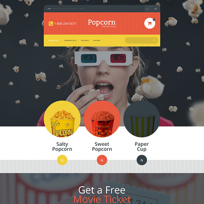 Popcorn Online Store OpenCart Template (OpenCart theme for selling food and spices) Item Picture
