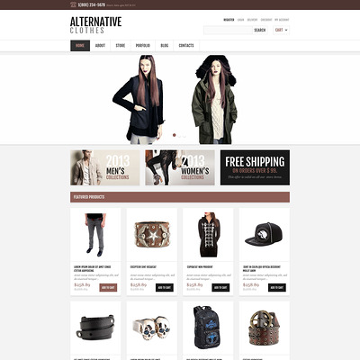 Responsive Alternative Store WooCommerce Theme (WooCommerce theme for selling clothing for men and women) Item Picture