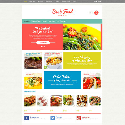 Responsive Food Store OpenCart Template (OpenCart theme for selling food and spices) Item Picture