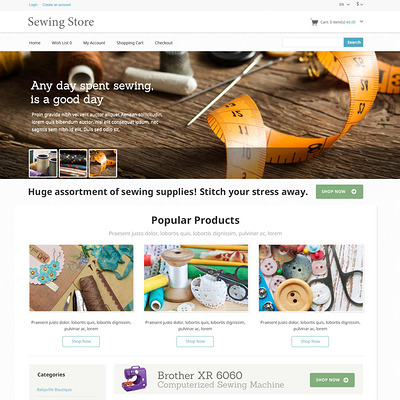 Sewing Knitting OpenCart Template (OpenCart theme for sewing and craft stores) Item Picture