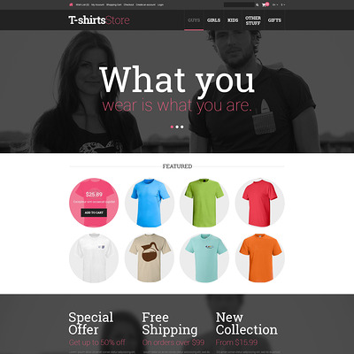 TShirts for Guys Girls OpenCart Template (OpenCart theme for clothing stores) Item Picture