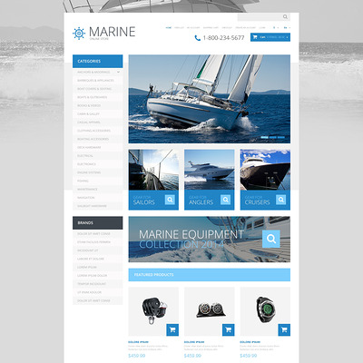 Yachting Responsive OpenCart Template (OpenCart theme for marine, yachting, fishing, and diving stores) Item Picture