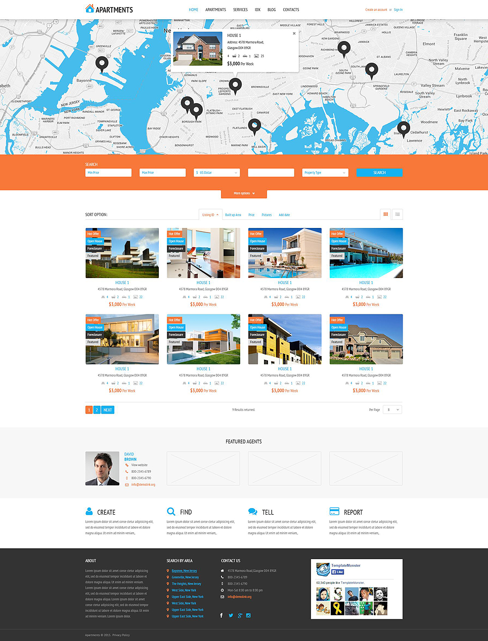 Apartments Rent Agency WordPress Theme (real-estate WordPress theme) Item Picture