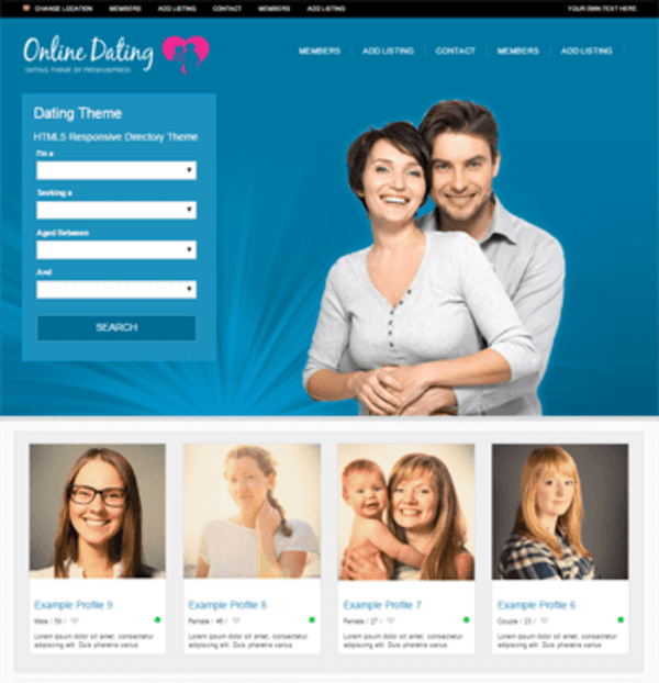 Dating Theme for WordPress (WordPress theme) Item Picture