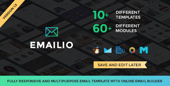 Emailio Responsive Multipurpose Email Template With Online Email Builder (email template) Item Picture