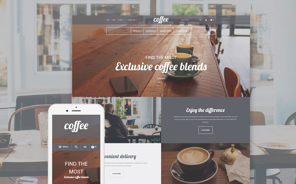 Coffee Shop Magento Theme (website template for ecommerce) Item Picture