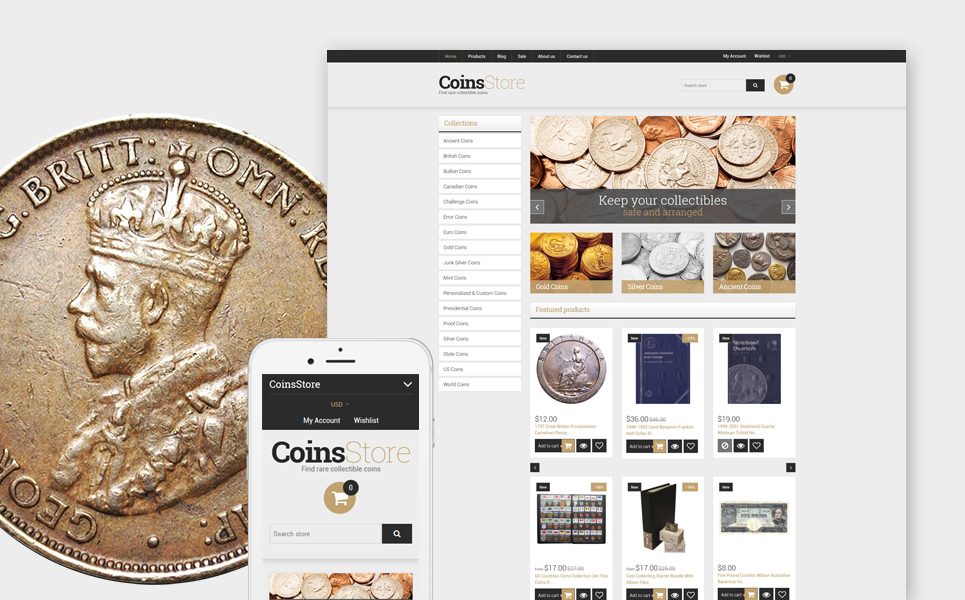 Collectible Coins & Supplies (website template for ecommerce) Item Picture