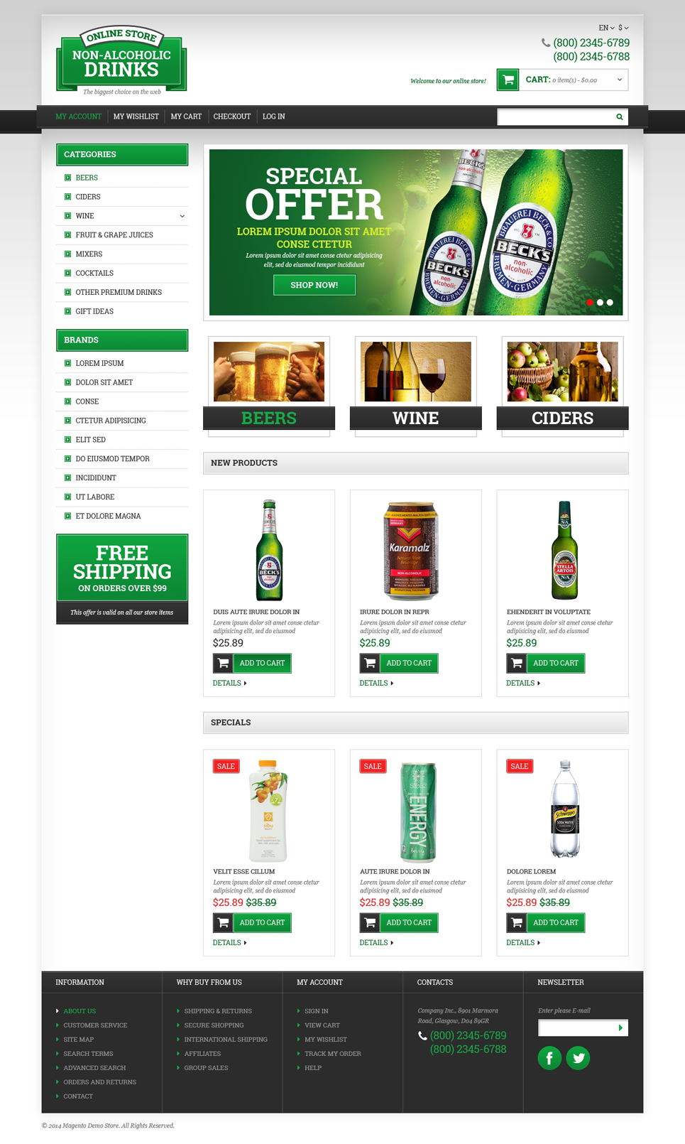 Food & Drink Responsive Magento Theme (website template for ecommerce) Item Picture
