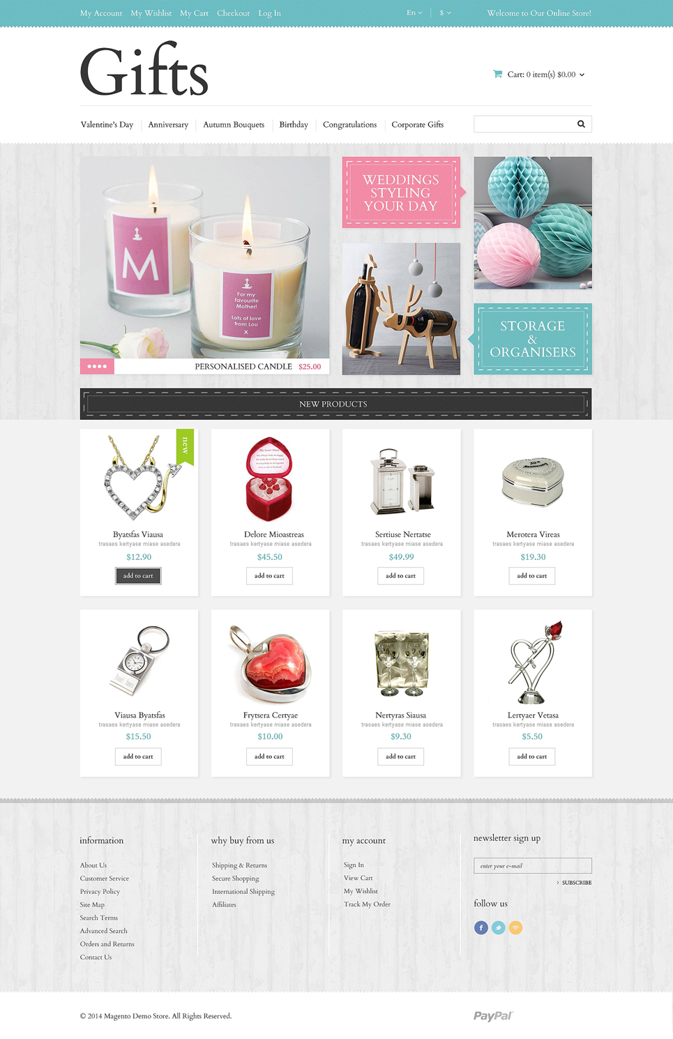 Gifts Store Responsive Magento Theme (wedding industry website theme) Item Picture