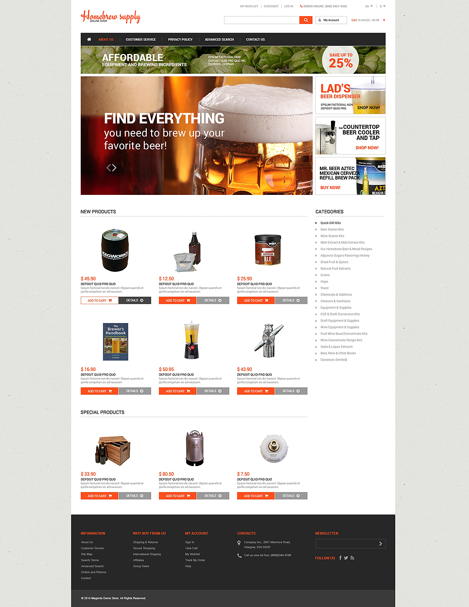 Homebrew Supply Shop Magento Theme (website template for ecommerce) Item Picture