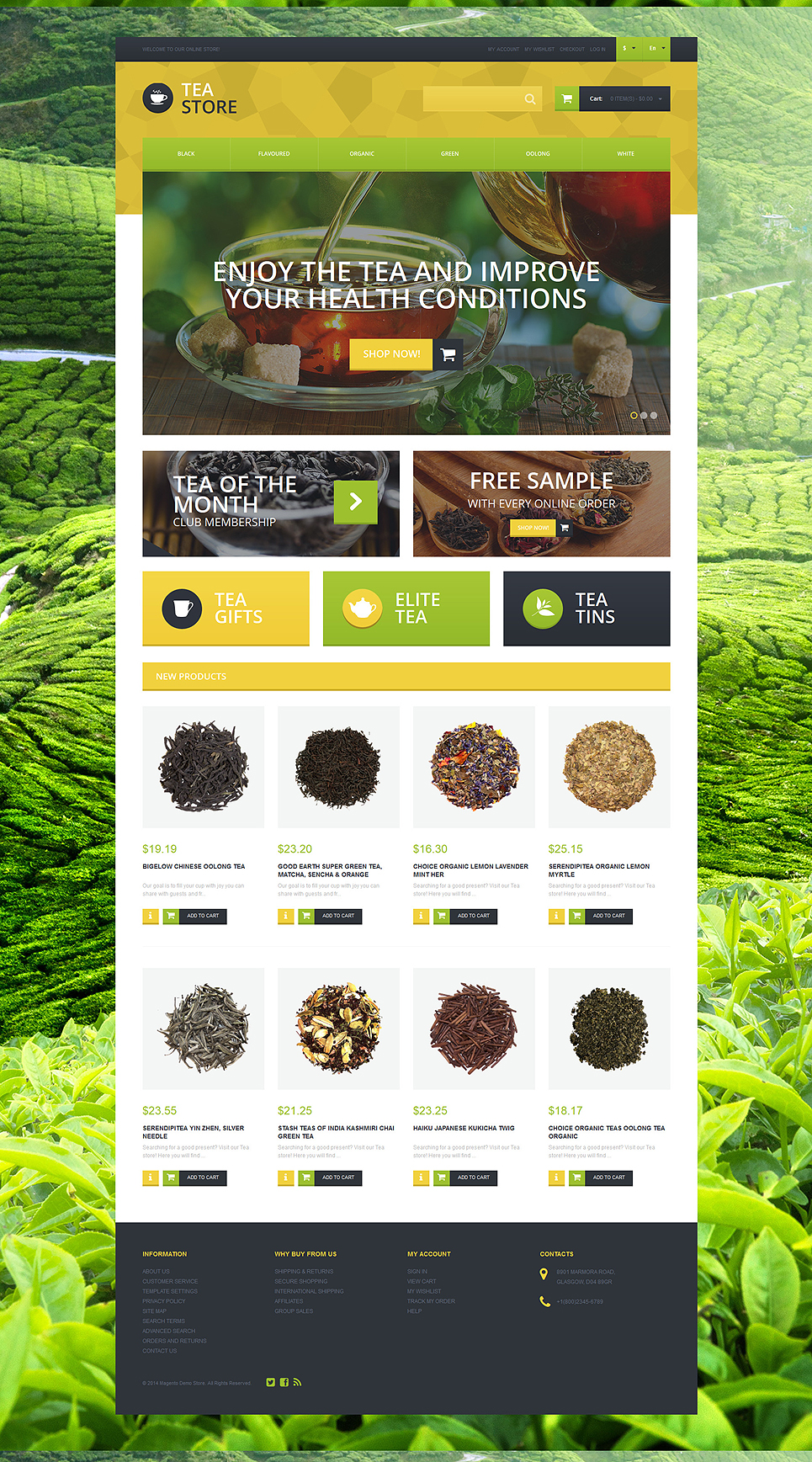 Naturally Grown Tea Magento Theme (website template for ecommerce) Item Picture