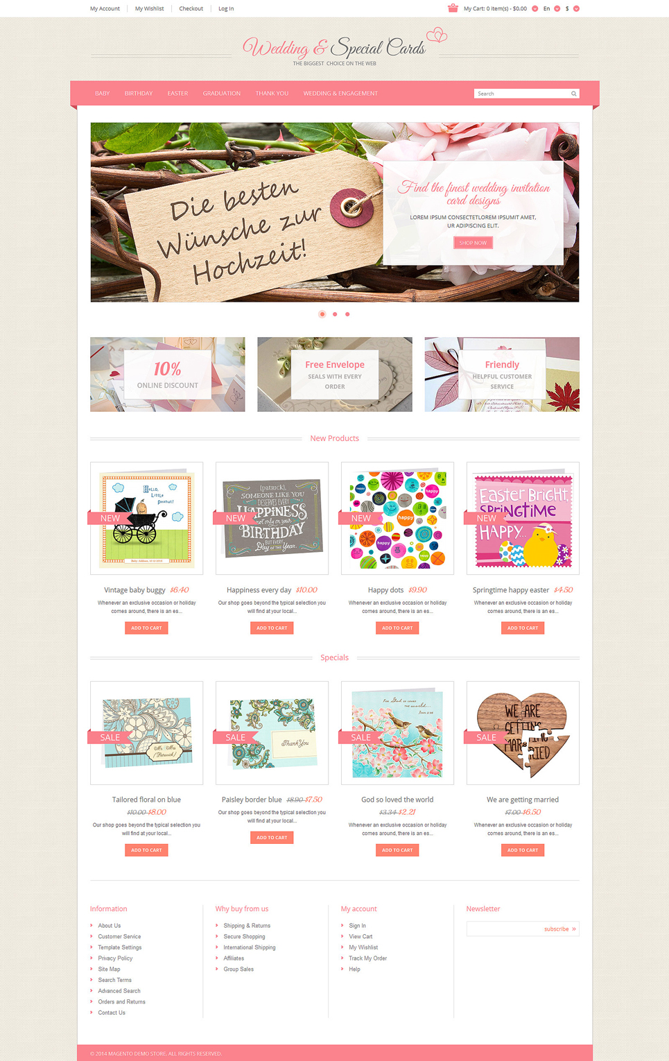 Special Occasion Cards Magento Theme (wedding industry website theme) Item Picture