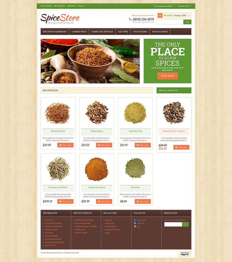 Spice Shop Responsive Magento Theme (website template for ecommerce) Item Picture