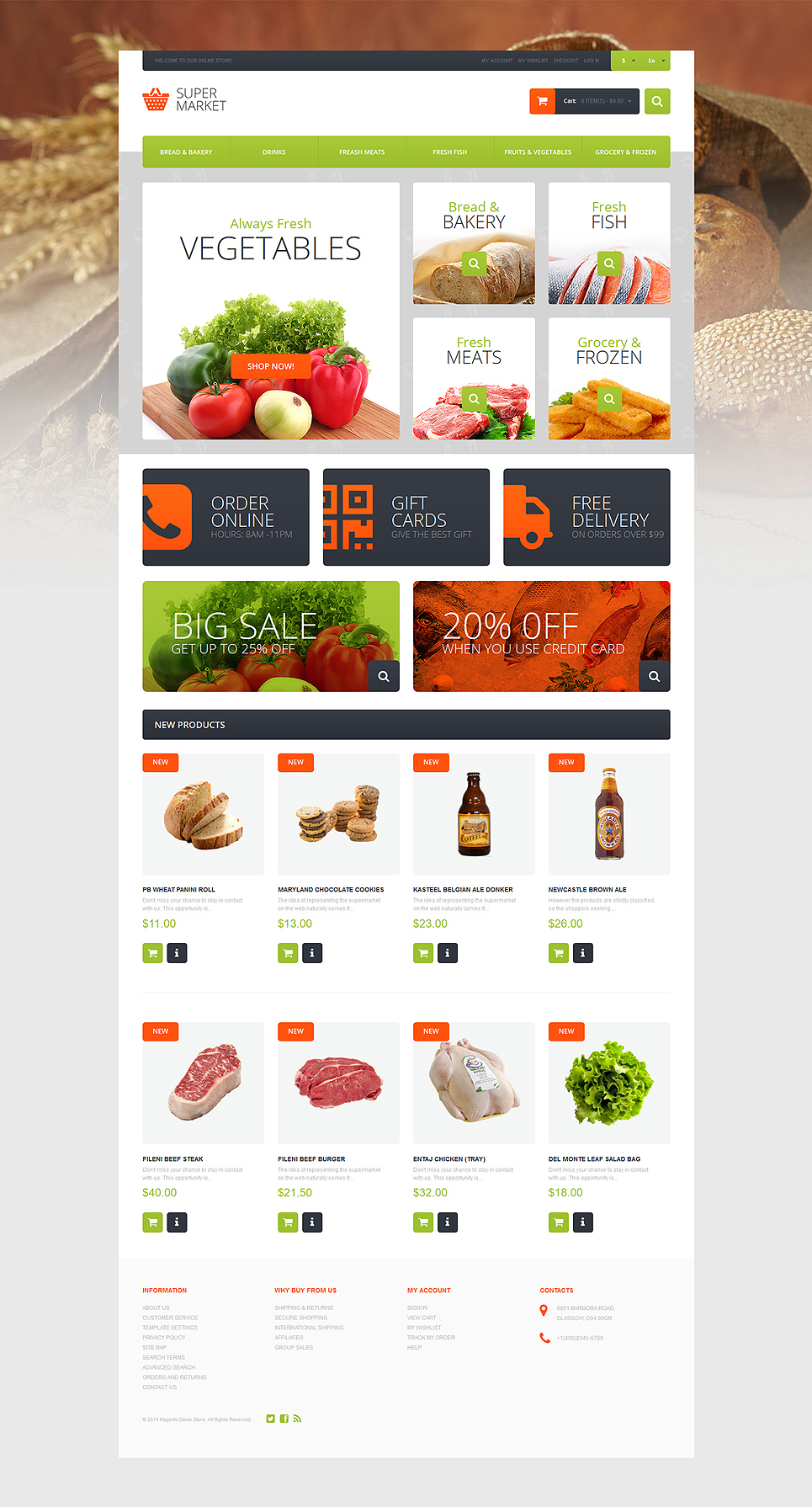 Supermarket Template Magento Theme (website template for ecommerce) Item Picture