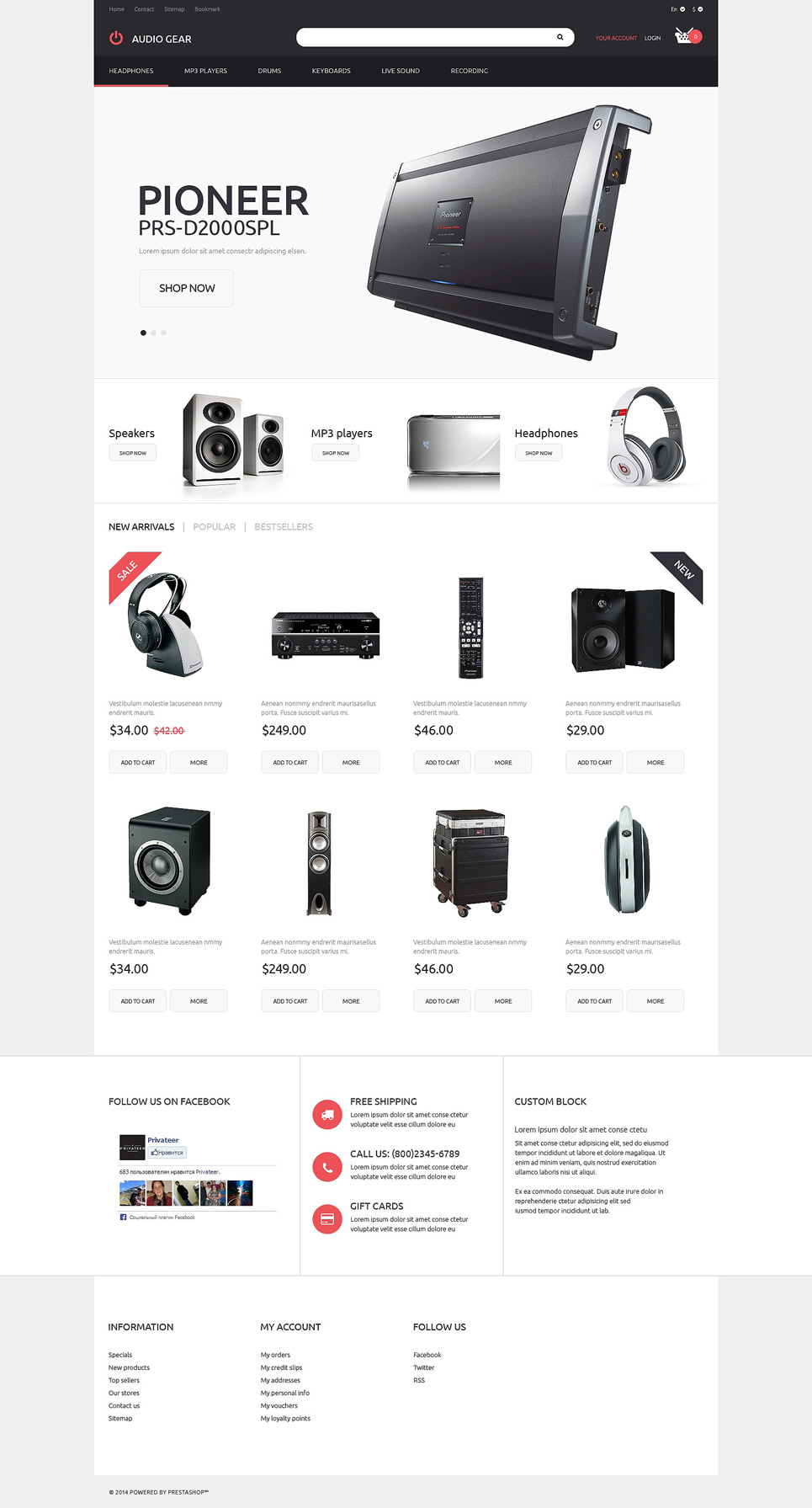 Audiogear Shop PrestaShop Theme