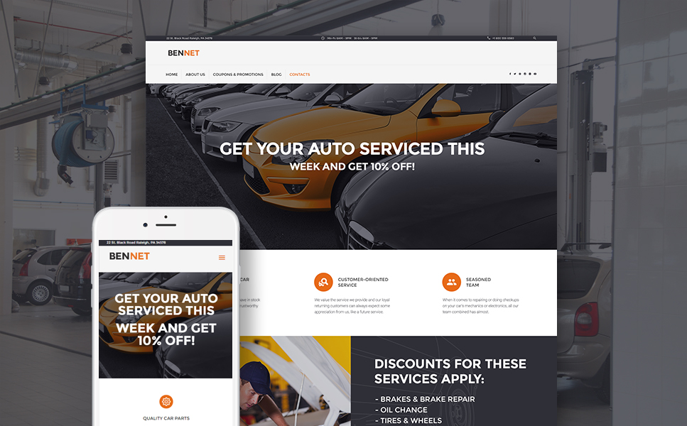 Bennet (WordPress theme for auto repair shops) Item Picture