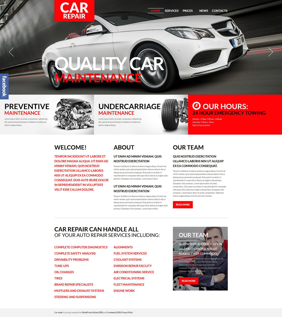 Car Repair & Maintenance (WordPress theme for auto repair shops) Item Picture