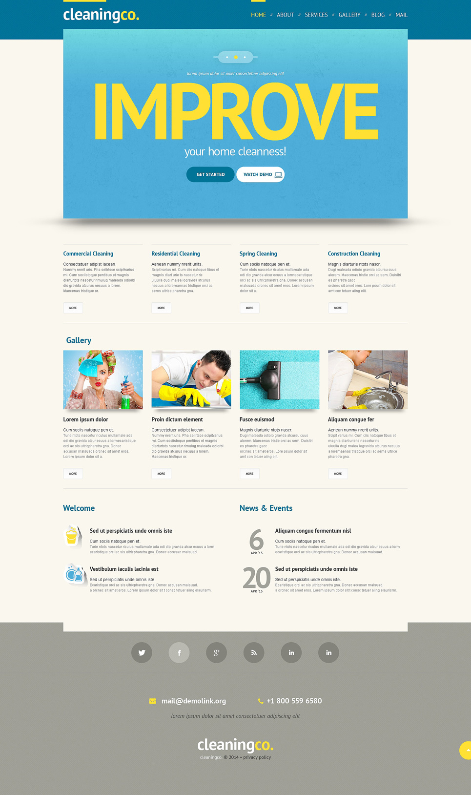 Cleaning Responsive WordPress Theme (maid service WordPress theme) Item Picture