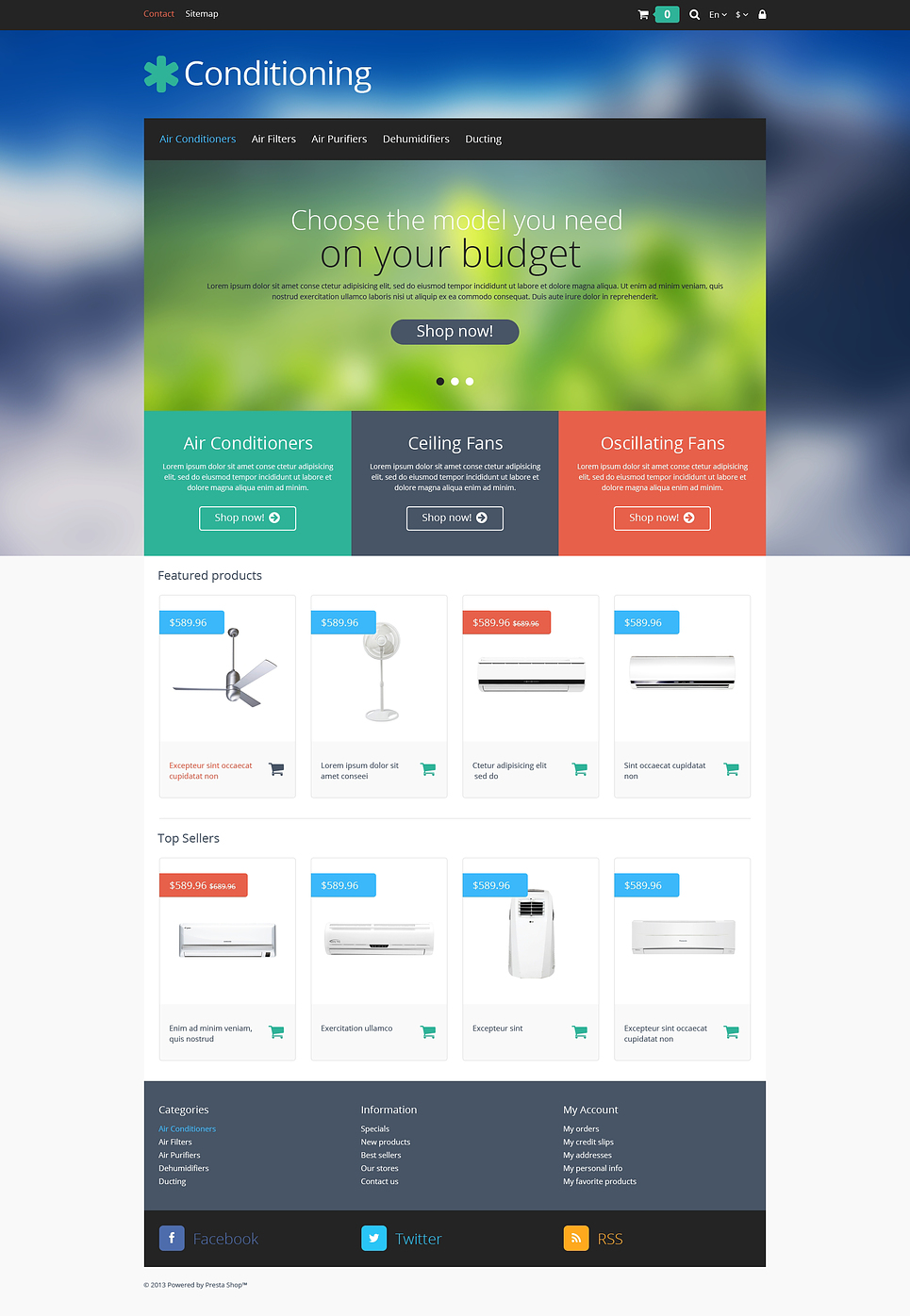coolest website themes for air conditioner stores prestashop air
