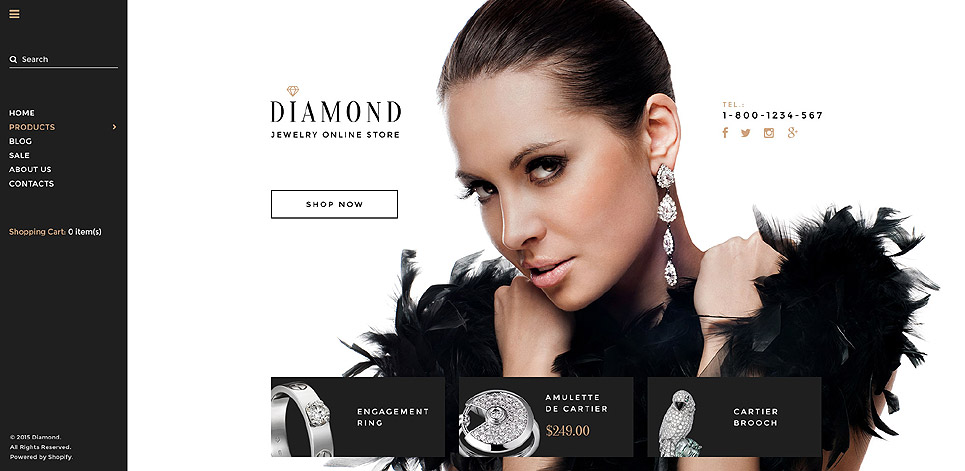 Diamond Shopify Theme (jewelry and accessories Shopify theme) Item Picture
