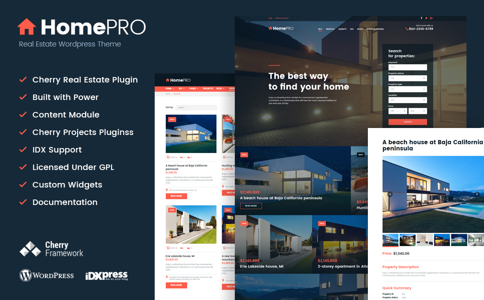 HomePro Real Estate Portal WordPress Theme (WordPress theme for realtors and real estate agents) Item Picture
