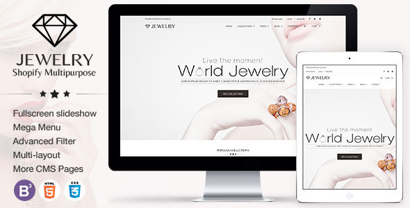 Jewelry Responsive Shopify Theme (jewelry and accessories Shopify theme) Item Picture