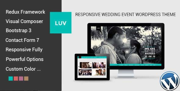 Luv (free wedding invitation WordPress theme) Item Picture