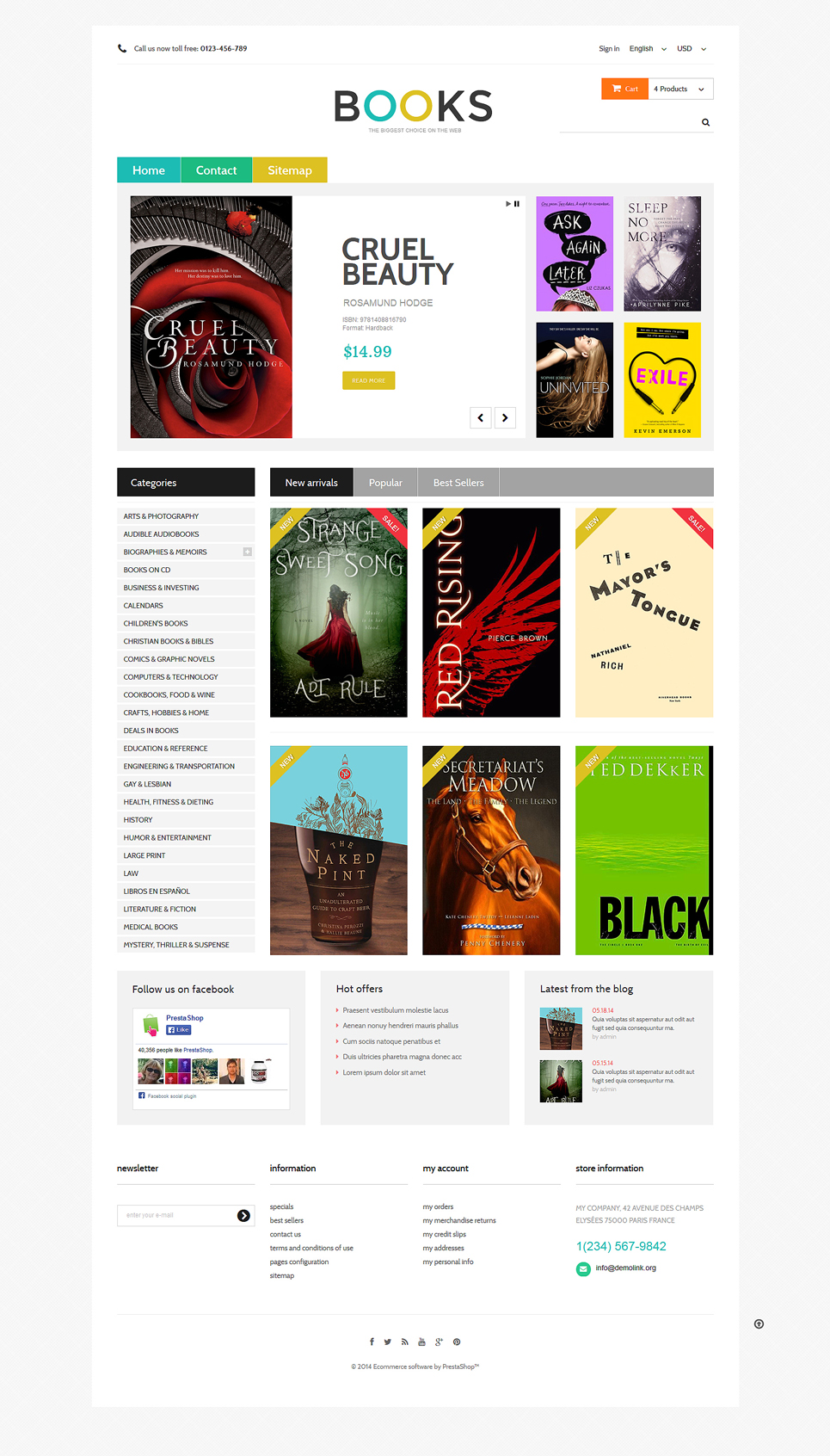 8+ Best Ecommerce Themes for Book Stores, Greeting Card