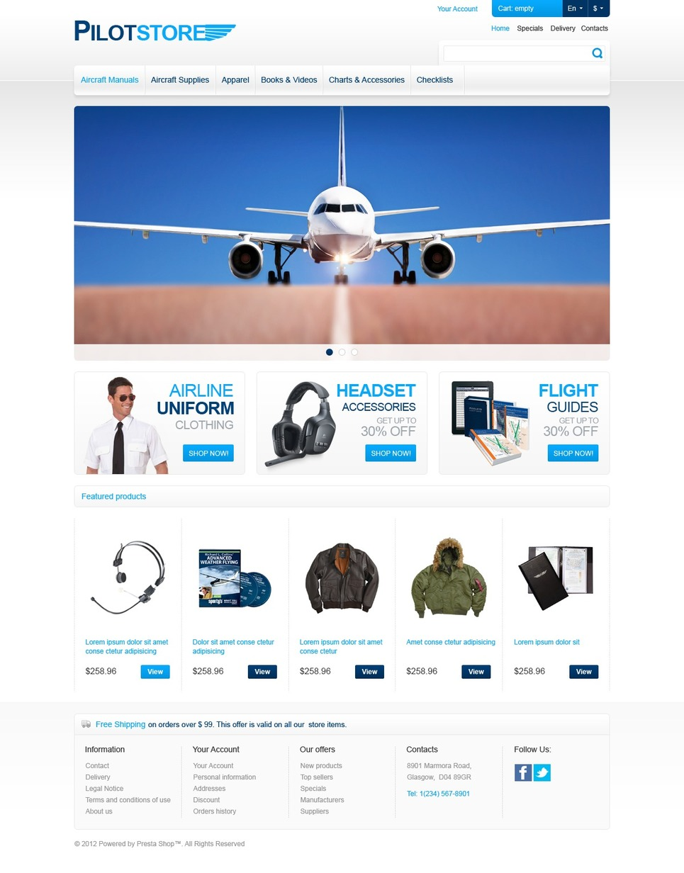 Pilot Supplies Store (PrestaShop template) Item Picture