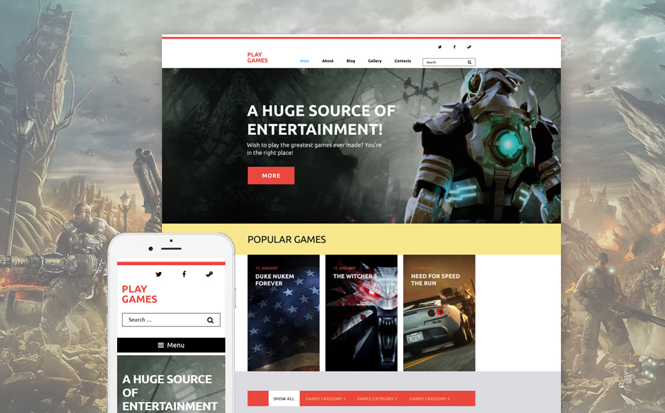 Play Games WordPress Theme (WordPress theme for gaming sites) Item Picture