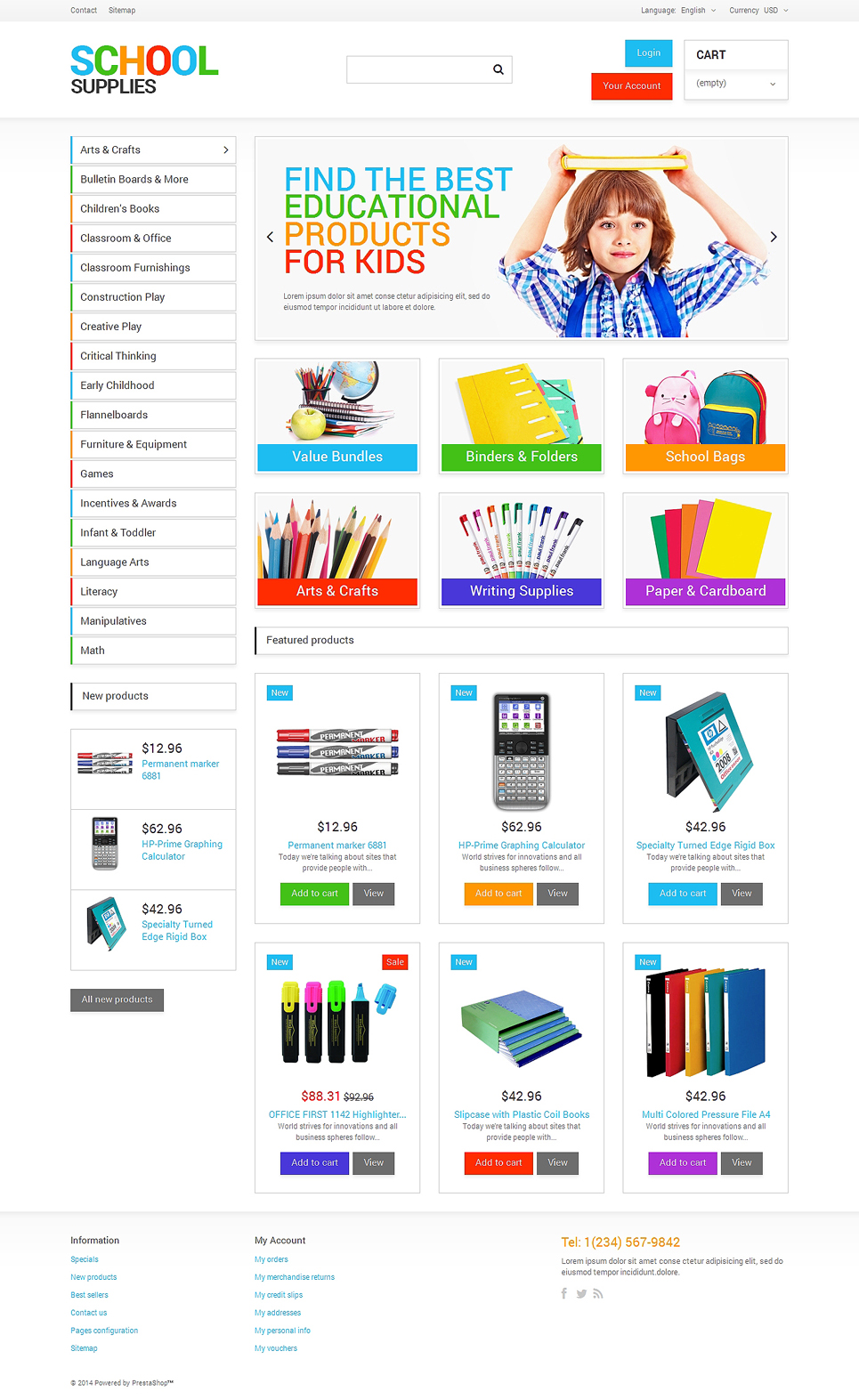 School Supplies PrestaShop Theme (theme for PrestaShop) Item Picture