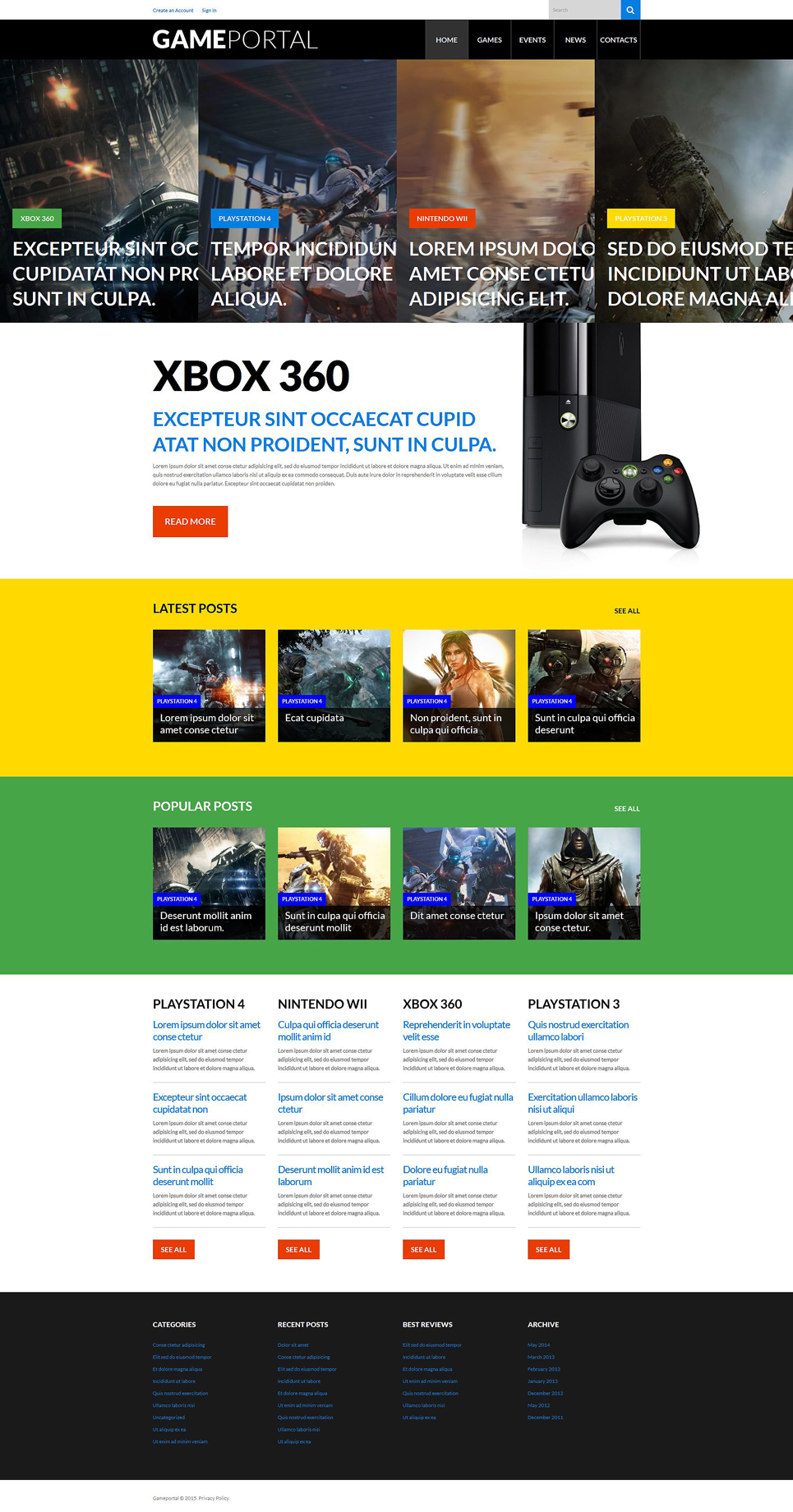Video Gaming Entertainment WordPress Theme (WordPress theme for gaming sites) Item Picture