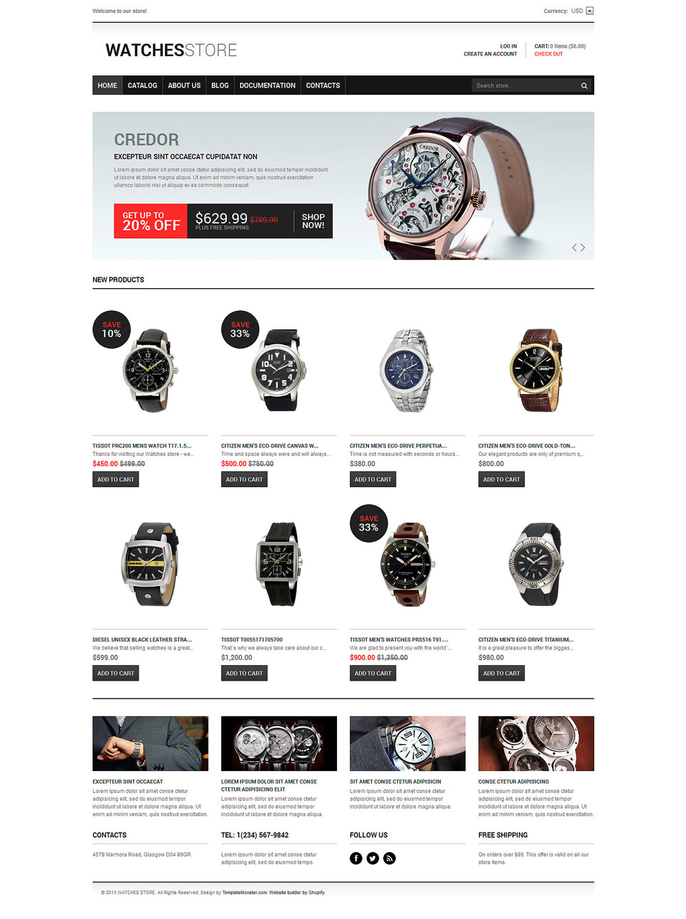 Watches Responsive Shopify Theme (jewelry and accessories Shopify theme) Item Picture