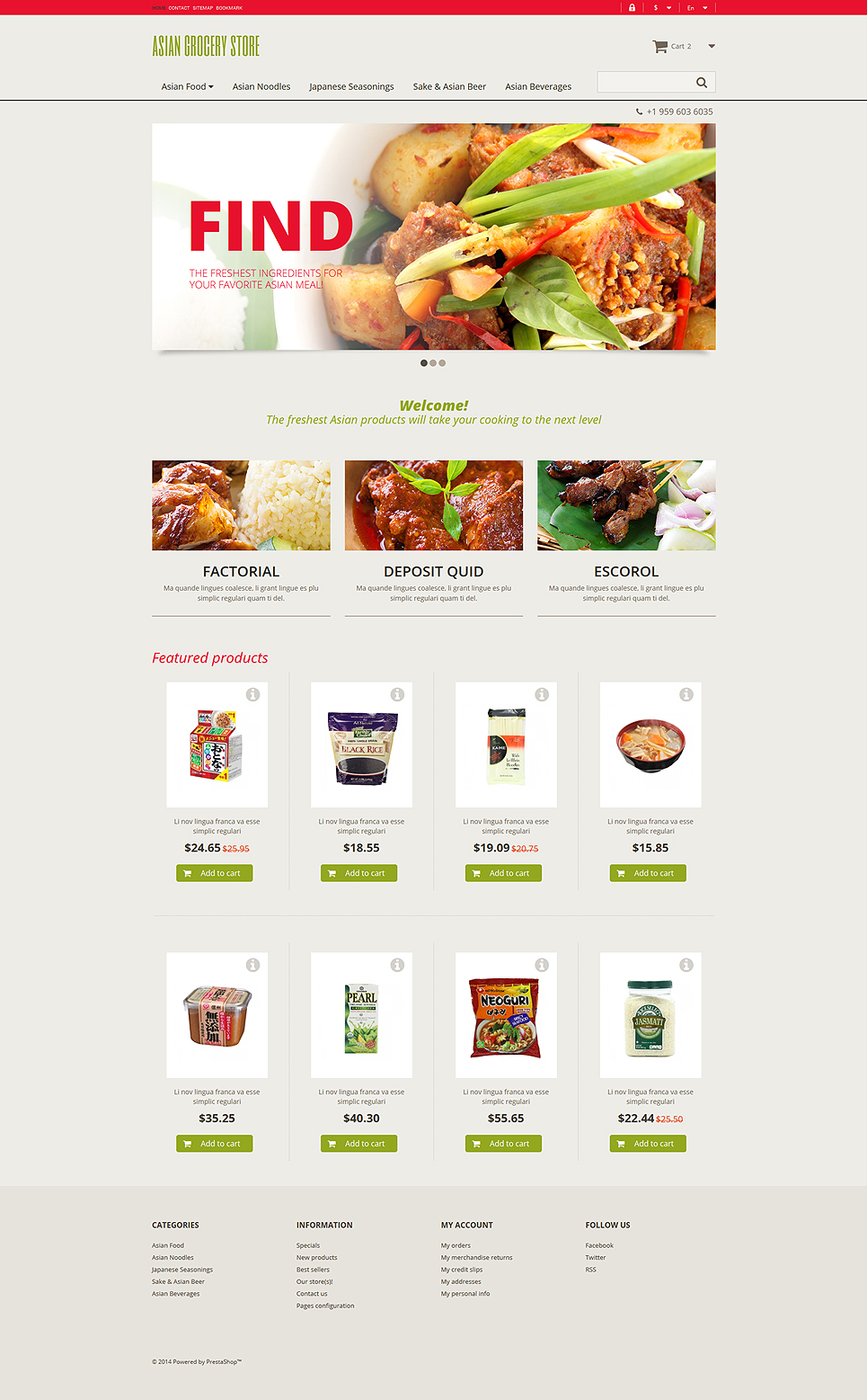 Asian Grocery Store (ecommerce theme for PrestaShop) Item Picture