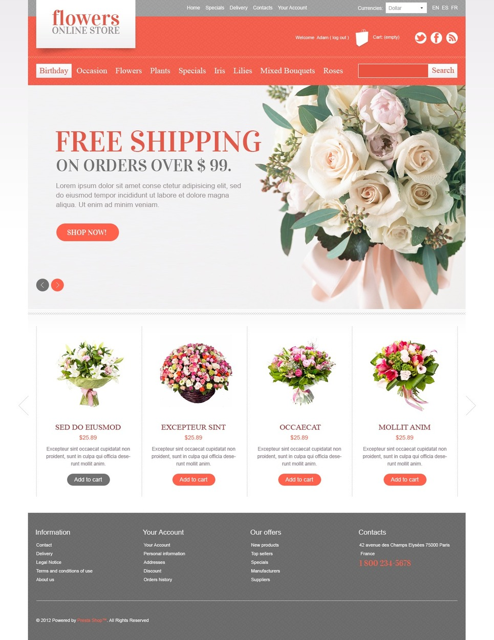 Flowers Online (ecommerce PrestaShop template) Item Picture