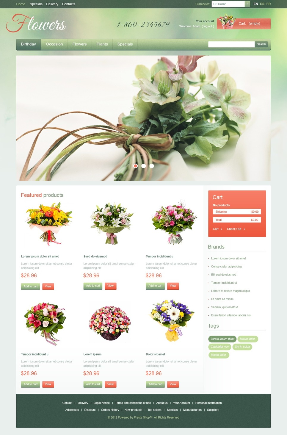 Garden Flowers (ecommerce PrestaShop template) Item Picture