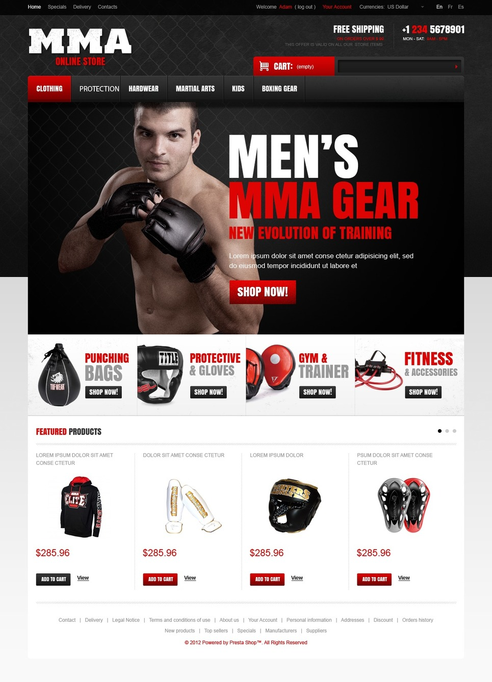 Martial Arts Store (ecommerce template for PrestaShop ) Item Picture