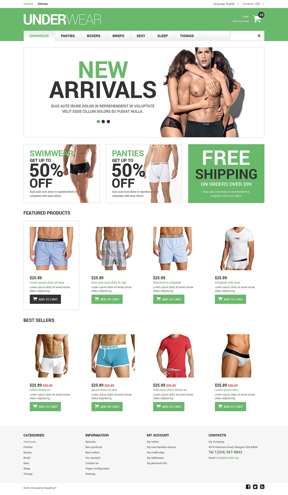 Men's Underwear PrestaShop Theme