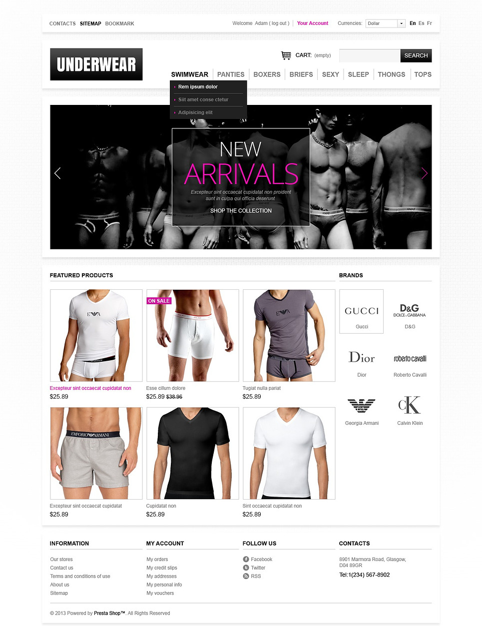 Men's underwear PrestaShop Theme (template for PrestaShop) Item Picture