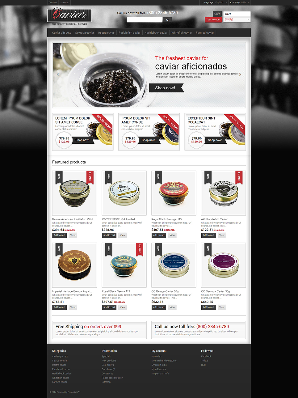 Nourishing Caviar (ecommerce theme for PrestaShop) Item Picture