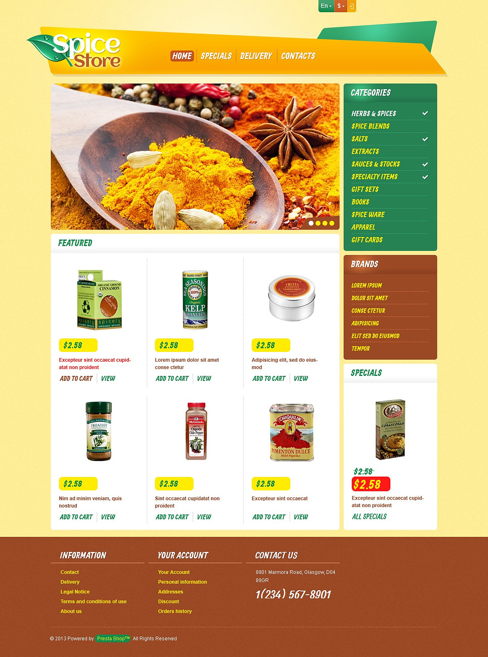 Responsive Spice Store (template for PrestaShop) Item Picture