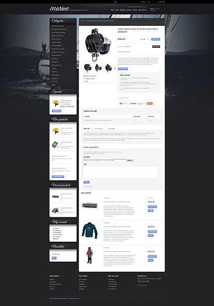Sailing Gear (PrestaShop template) Item Picture