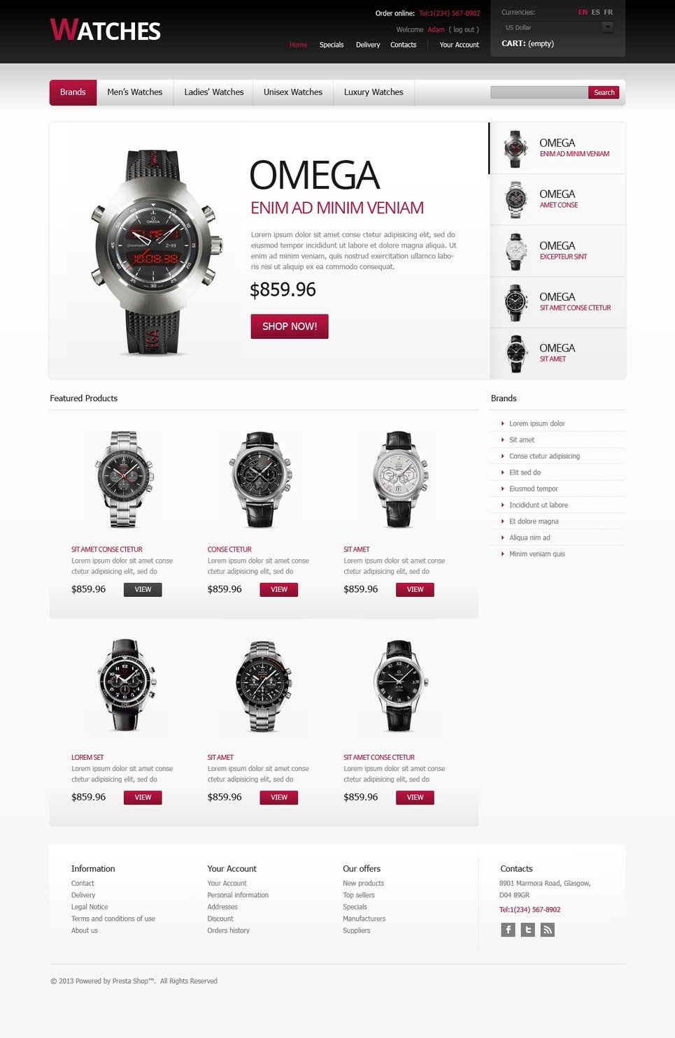 Stylish Watches (ecommerce theme for PrestaShop) Item Picture