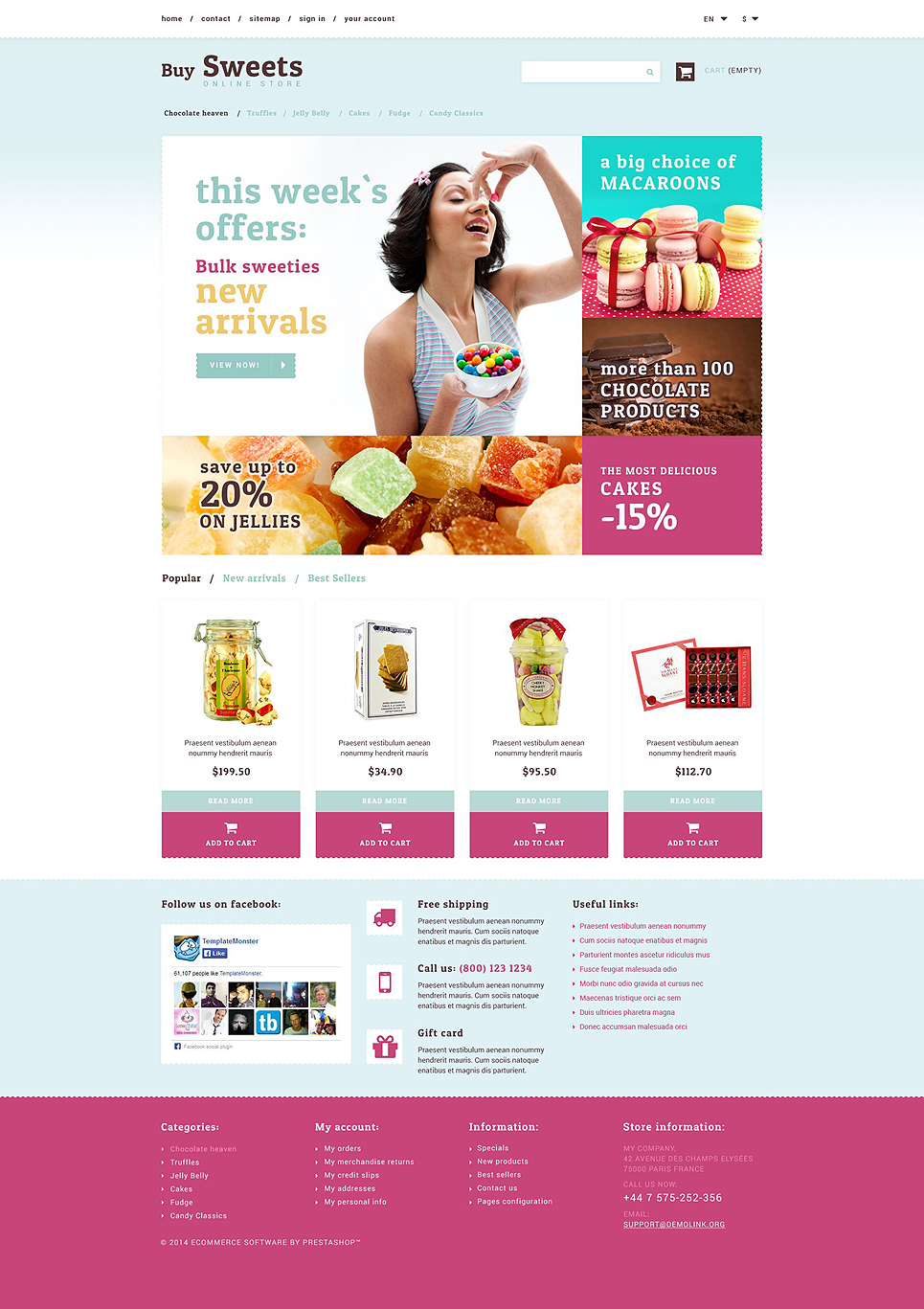 Best Candy Cupcake Sweet Store Ecommerce Website Templates - Buy ecommerce website templates