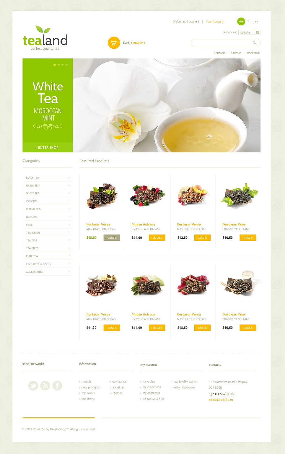 Tea Land (template for PrestaShop) Item Picture