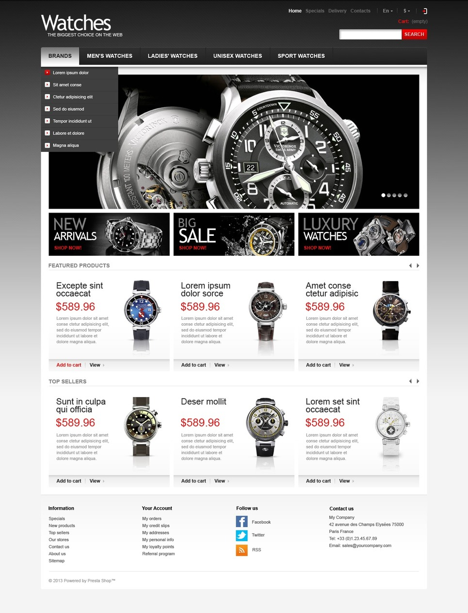 Wrist Watch Store (ecommerce theme for PrestaShop) Item Picture