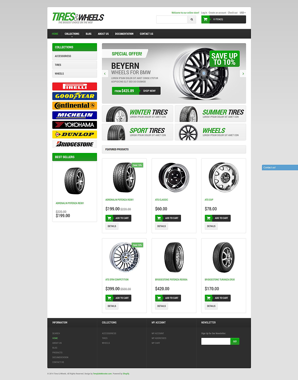 Car Tires (Shopify theme for ecommerce sites) Item Picture