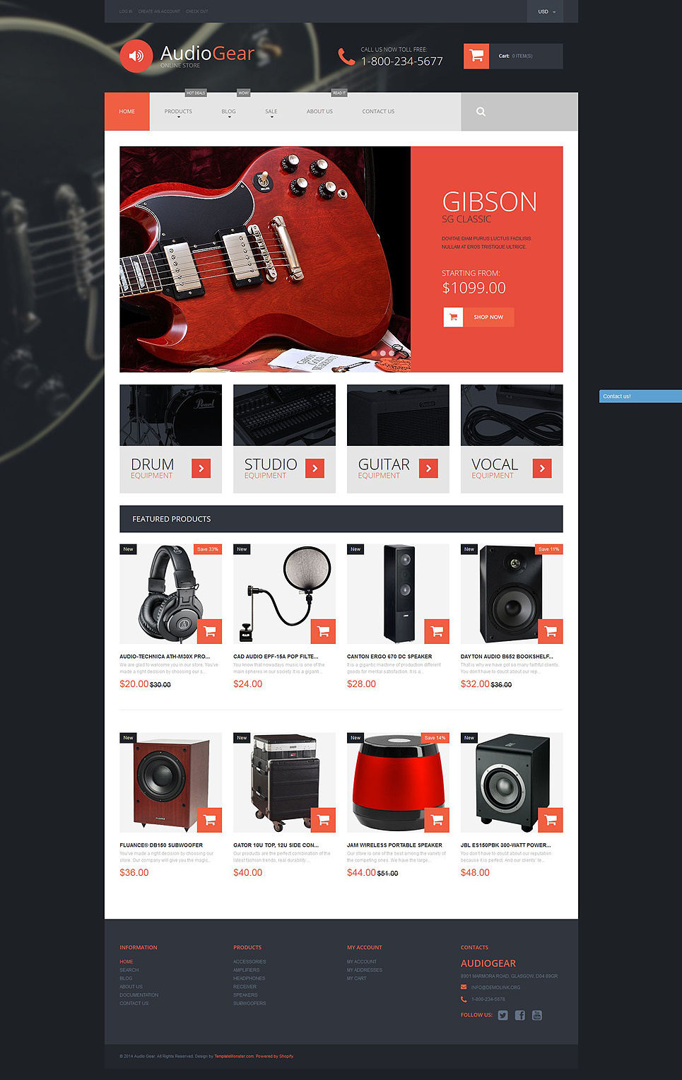 Musical Instruments Store (Shopify theme for ecommerce) Item Picture