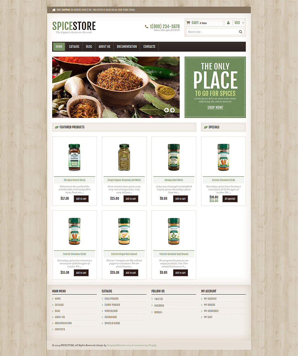Spice Shop (ecommerce website theme) Item Picture