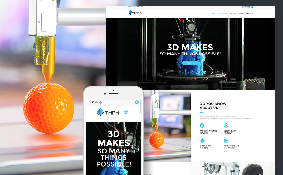 3D Printing Services (theme for your WordPress site) Item Picture